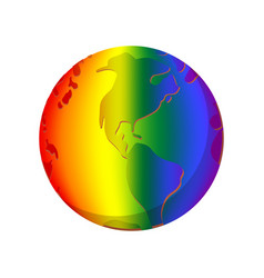 Rainbow planet cartoon icon vector image