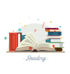 reading stack of books vector image