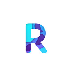 Realistic paper cut letter r vector