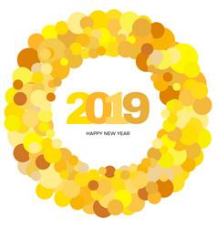 ring of yellow circles and the inscription 2019 vector image