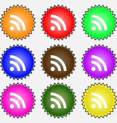RSS feed icon sign A set of nine different colored vector