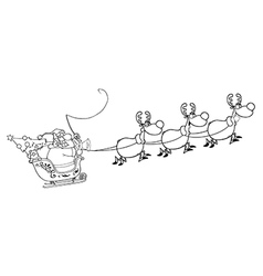 Santa riding sleigh cartoon vector image