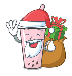 Santa with gift raspberry bubble tea character vector