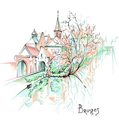 Scenic city view of bruges canal with beautiful vector