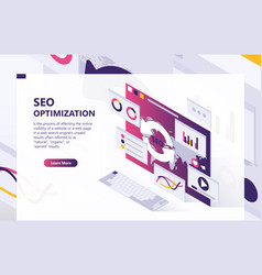 seo optimization isometric background vector image