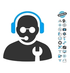 Service Operator Icon With Copter Tools Bonus vector