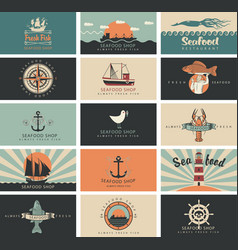 Set business cards for seafood shop and vector