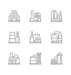 set line icons factory or plant vector image