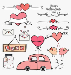 Set of doodle valentine day labels and typography vector
