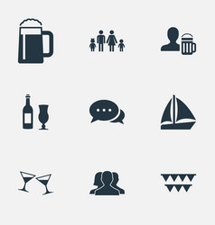 set of simple party icons vector image