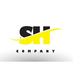 sh s h black and yellow letter logo with swoosh vector image