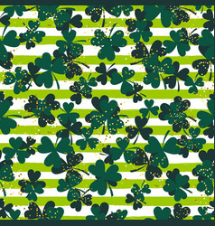 Shamrock green striped trefoil leaf seamless vector