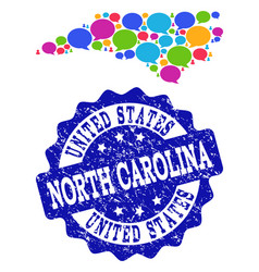 Social network map of north carolina state with vector