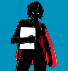 superheroine holding book silhouette vector image