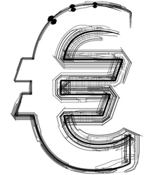 Technical typography euro symbol vector image