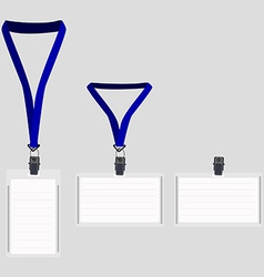 Three white lanyard with blue holder vector