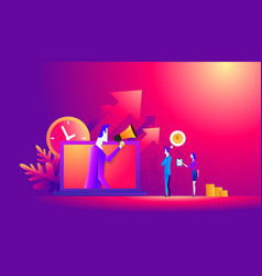 Time management concept small people stand near vector