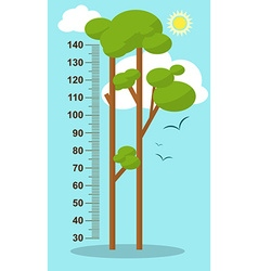 Trees on blue background Children height meter vector
