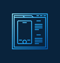 webpage with smartphone blue outline icon vector image