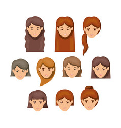 White background with female faces with hair vector