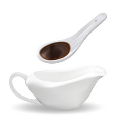 White ceramic spoon with soy sauce and sauceboat vector