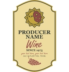 Wine label with sun and moon vector