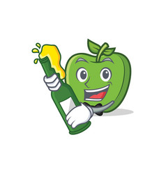 with beer green apple character cartoon vector image