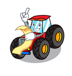 With menu tractor mascot cartoon style vector