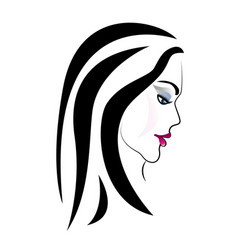 women long hair style icon women on white vector image