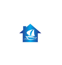 Yacht sailing in sea for logo design in a vector