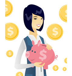 young asian business woman holding a piggy bank vector image
