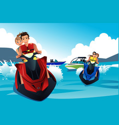 young people riding jet ski vector image