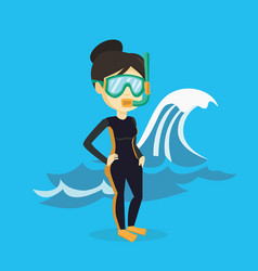 Young scuba diver vector