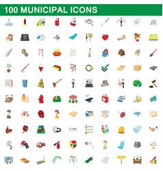 100 municipal icons set cartoon style vector image