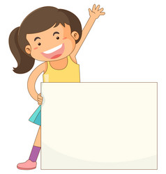 banner template with happy girl vector image vector image