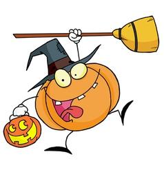 Halloween Happy Pumkin With A Broom vector image vector image