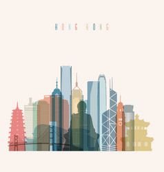hong kong skyline detailed silhouette vector image