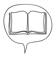 monochrome contour with book in bubble speech vector image