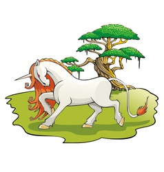 Mythical unicorn in the enchanted forest vector