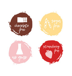 set of food labels - allergens food intolerance vector image vector image