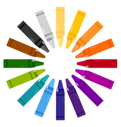 Colorful crayons in circle vector image vector image