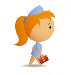 little cute nurse with case vector image