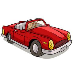 cartoon red retro car vector image