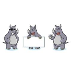Gray Rhino Mascot happy vector image vector image