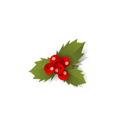 mistletoe holly berry christmas decoration element vector image