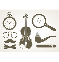 Retro detective accessories vector image vector image