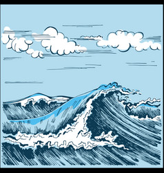 sea wave landscape stylized graphics vector image vector image