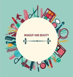 set of makeup and beauty elements pattern vector image vector image