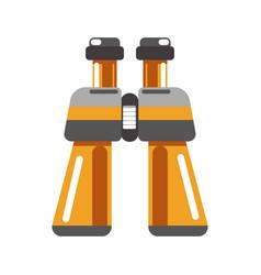Binoculars device in orange color isolated on vector