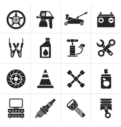 Black Transportation and car repair icons vector image vector image
